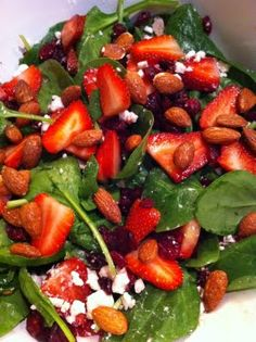 Strawberry Spinach Salad with Feta and Almonds