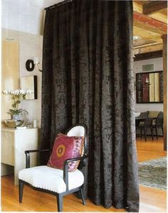 hanging room dividers | Hanging Curtain Room Dividers floor to ceiling curtains (gray on gray fabric)