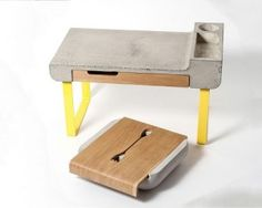 Mesa y Organizador de Cubiertos en Cemento y Madera1