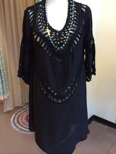 Black Crochet dress is so pretty and flattering with the nude cami! www.blue-bohemian.com