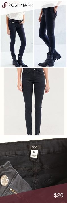 """UO BDG Jefferson Skinny Jeans Black skinny moto jeans from BDG exclusively for Urban Outfitters.  Second skin fit with added stretch and a mid rise waist.  Seam details all over.  4 pockets and zipper fly with zippers at the ankles.  28"""" inseam and 8"""" rise.  Worn but in excellent condition with no visible signs of wear. Urban Outfitters Jeans Skinny"""