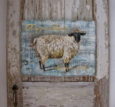 Acrylic Paintings of Sheep | Sheep original acrylic painting on reclaimed rustic solid wood Little ...