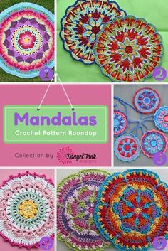 Danyel Pink Designs: 5 Crochet Patterns for Mandalas. Mandalas a crochet. Crochet Mandala Pattern, Crochet Circles, Crochet Round, Crochet Squares, Love Crochet, Diy Crochet, Crochet Crafts, Crochet Stitches, Crochet Projects