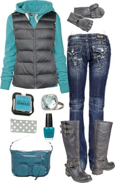 """""""Aqua and Charcoal"""" by crzrdnk77 on Polyvore"""