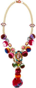 shopstyle.com: MARIO TESTINO FOR MATE by VICKIBEAMON gold-plated, Swarovski crystal and pompom necklace