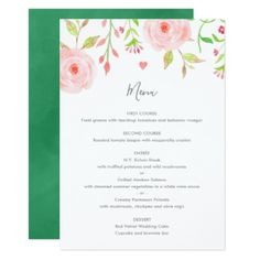 Sweet Floral Wedding Menu Card in Pink & Green - diy cyo personalize design idea new special custom