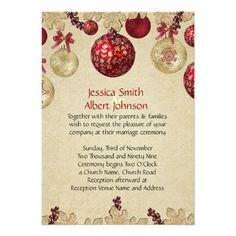 Gold/Red Winter Holiday Ornaments Wedding Invite
