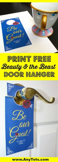Print our Beauty and the Beast Free Printable. Make it part of your Beauty and the Beast Birthday Party Ideas. It's a fun way to welcome guests at the door. Visit www.anytots.com for more party ideas and free party printable.