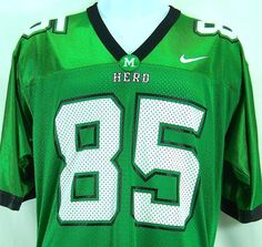 Marshall University Thundering Herd 85 Football Team Jersey Nike Green Size S #Nike #MarshallThunderingHerd