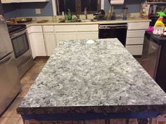 Old Ugly Laminate Countertops Painted To Look Like Faux Granite Stone Countertops An