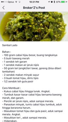 Sambal Lado Spicy Recipes, Vegan Recipes Easy, Asian Recipes, Cooking Recipes, Sambal Sauce, Sambal Recipe, Indonesian Cuisine, Malaysian Food, Homemade Sauce