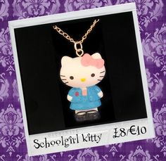 "BROKENDOLL 'SCHOOLGIRL KITTY' NECKLACE. £8.00  Back to school with this iconic Japanese Kawaii character 'Hello Kitty'. She measures approx 3cm x 2cm and is on a 18"" silver plated chain."