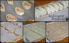 Ślimaczki z ciasta francuskiego z serem i szynką - przekąski Muffin, Food And Drink, Appetizers, Pizza, Menu, Pudding, Bread, Breakfast, Desserts