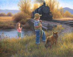 Robert Duncan Fishing at the Bridge Native American Art, Western Art, and Wildlife Art. Fine art prints and posters framed, custom framing Robert Duncan Art, Art Pictures, Photos, Arte Country, Train Art, Wildlife Art, Western Art, Beautiful Paintings, American Artists