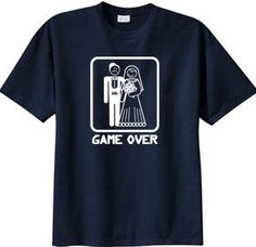 GAME OVER Funny Bride Groom Navy Novelty T-shirt 2XL