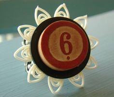 Vintage Bingo Button Ring