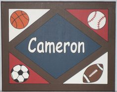 Handpainted All Star Vintage Sports Theme Nursery Wall Art Personalized Custom Canvas Name Painting 16X20