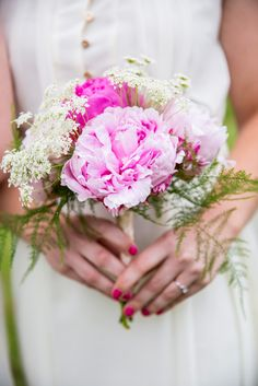 Pink Peony and Queen Anne's Lace Bridal Bouquets   Forest Lake Floral   Krista Esterling Photography https://www.theknot.com/marketplace/krista-esterling-photography-minneapolis-mn-519899