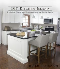This kitchen island is made from a surprisingly simple frame built around two stock cabinets, and can be sized to fit ANY base cabinets by changing only ONE measurement. When we started our kitchen… Diy Kitchen Remodel, Home Decor Kitchen, New Kitchen, Basic Kitchen, Kitchen Remodeling, Kitchen Ideas, Kitchen Planning, Narrow Kitchen, Menu Planning