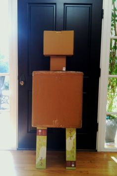 Robot Assembly Line / Greeter-bot...and so it begins.  Stacking boxes to see what I can come up with.  Then I rummaged through the garage and closets and made a trip to Lowes for some essentials....see how the party progresses. - #Robot Birthday Party #robotparty