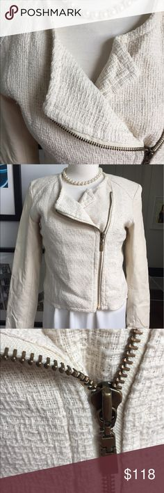 Bagatelle Cream Leather & Tweed Moto Jacket NWOT Beautiful cream Bagatelle moto style jacket with genuine leather sleeves and asymmetrical zipper. Body is a nubby textural cotton tweed. Fully lined. Brand new without tags. Size L.    Jacket only. Any accessories in photos not included. C01-10 Bagatelle Jackets & Coats