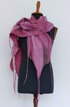 Silk and wool.  Nuno felted scarf for women