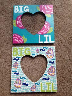 Hand painted #LilllyPulitzer frames for Big/Little Reveal Basket