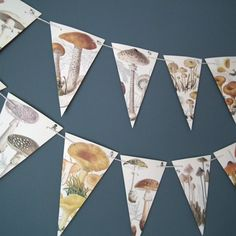 Mushroom Bunting, Mushroom Decor, Garland, Toadstool , Fungi, Mushroom Banner, Paper Garland,  Woodland Banner, Fall, Autumn, Woodland Decor...