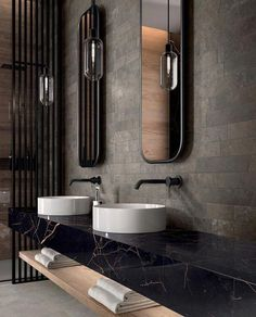 The most interesting about having a modern bathroom is on its simplicity without losing its function. Here, we want to share with you 10 modern bathroom design ideas which will inspire to remodel your old-fashioned bathroom. Modern Bathroom Design, Bathroom Interior Design, Modern Design, Bathroom Designs, Contemporary Bathtubs, Contemporary Decor, Modern Decor, Hotel Restaurant, Restaurant Design