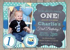 Boys Blue Owl 1st Birthday Invitation / by InvitaitonsByLittleP, $10.00