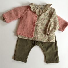 Liberty blouse and pink cardi for a baby