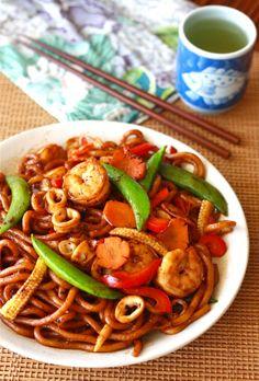 Stir-Fried Black Pepper Udon Noodles
