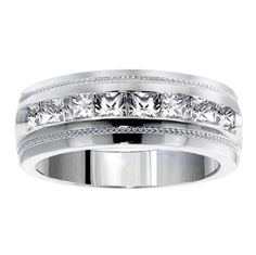 1.05 CT TW Princess Cut Diamond Men's Ring in Platinum Channel Setting VIP Jewelry Art. $2599.00