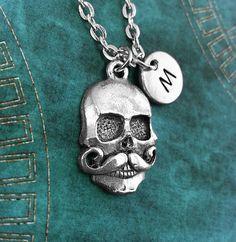 Personalized Mustache Skull Necklace Skull Pendant by MetalSpeak, $15.95