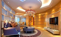 Modern pop false ceiling designs for living room interior with TV on opposite wall