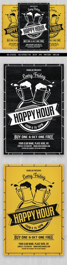 Happy Hour Flyer Template PSD. Download here: http://graphicriver.net/item/happy-hour-flyer/15349146?ref=ksioks