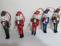 Wood Tree Ornaments Set of 6 Nutcrackers from 1980s by LuRuUniques