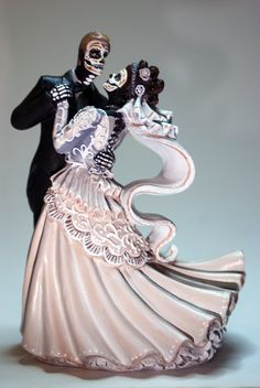 Day Of The Dead Bride And Groom Wedding Cake Topper Blush Small