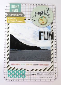 Project lIfe using Simple Stories stickers, washi tape, Heidi Swapp chippy, Simple Stories brad. My favourite place in NZ.. Mount Maunganui