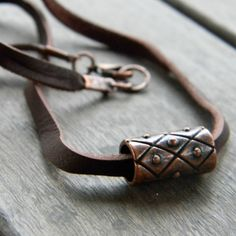 Mens leather cord necklace copper brown by SongbirdCabinDesigns
