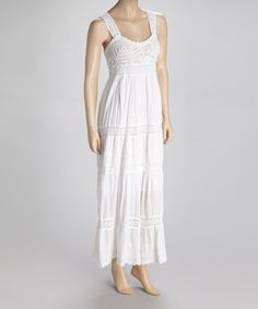 Take a look at this White Crochet Lace Maxi Dress by SR Fashions on #zulily today!