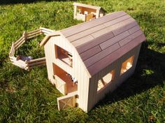 Wooden toy barn wood barnyard playset by CaptureWoodWorks on Etsy, $140.00