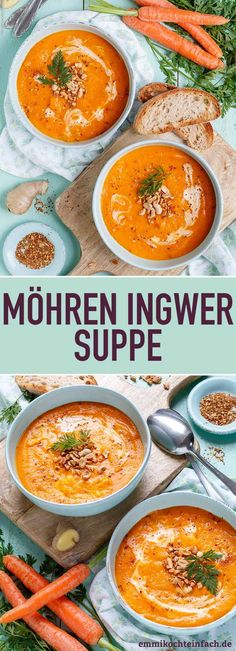 Carrot ginger soup made easy – easy to cook - Suppe Simple Muffin Recipe, Healthy Muffin Recipes, Healthy Diet Plans, Healthy Eating, Clean Eating, Carrot Ginger Soup, Low Fat Yogurt, Fruits And Veggies, Eating Habits