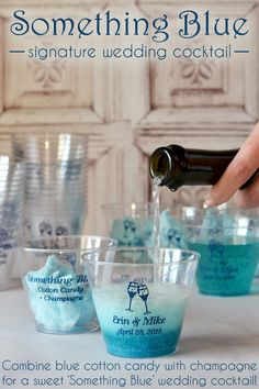Simple to make and oh, so striking, this Something Blue signature drink combines blue cotton candy with sparkling champagne that will have your guests coming back for more. Serve your drinks in clear 9 oz. tumblers personalized with a design, bride and groom's name and wedding date on one side and drink ingredients on the other side for a fun wedding souvenir. The cups used for this drink can be ordered at http://myweddingreceptionideas.com/9_oz_personalized_clear_plastic_tumblers.asp