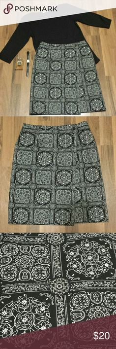 {Talbots} Wrap Skirt This lovely black & white floral print wrap skirt is very versatile! Wear it to the office, school, out shopping, church, you will get so much wear out of this! Throw it on with a white tee or a black blouse or something colorful, with flats or heels, whatever is easiest! Very simple, yet classy! 100% Cotton  Offers Welcome! Talbots Skirts