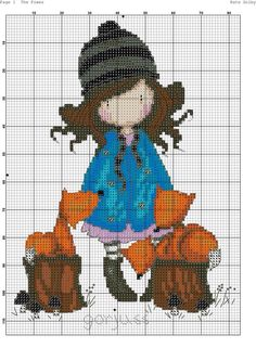 Gorjuss girl with foxes Cross Stitch Cards, Cute Cross Stitch, Cross Stitching, Cross Stitch Embroidery, Embroidery Patterns, Cross Stitch Patterns, Blackwork, Stitch Doll, Sewing Cards