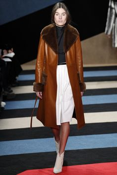 Fur collar, leather coat, a line skirt, booties. Derek Lam Fall 2016 Ready-to-Wear Fashion Show - Vera Van Erp