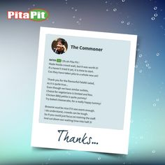 #LoveForPita Thanks for visiting us at DLF Mall of India - Biggest mall in India. & reviewing us on Zomato and making our day. We wish to serve you again, sooner!