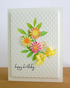 Birthday daisies - Just a few stamping, die cutting and embossing steps to make this stunning card.