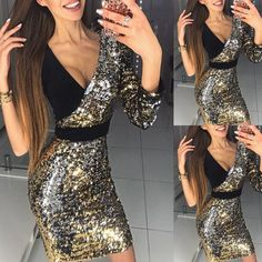77d5917ca0 Sexy Low-cut Bodycon Sequin Dress. UK Womens V Neck ...